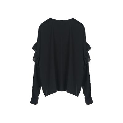 loose fit frill detail blouse black